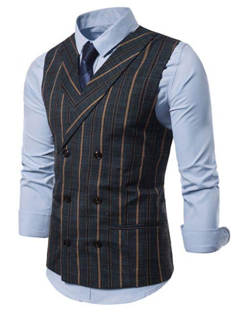 Striped Print Double Breasted Casual Waistcoat - CADETBLUE XL