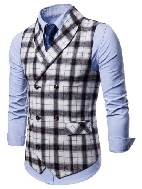 Plaid Print Double Breasted Casual Waistcoat - WHITE M