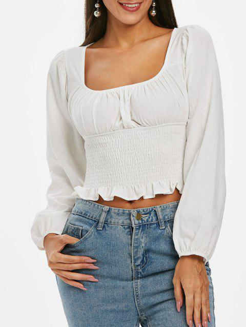 Smocked Ruffle Crop Blouse - WHITE XL