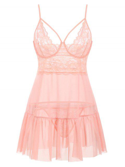 T Back Harness Lace Panel Sheer Mesh Plus Size Babydoll - PINK 3X