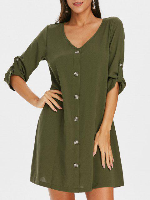Roll Sleeve Button Down Tunic Dress - ARMY GREEN L