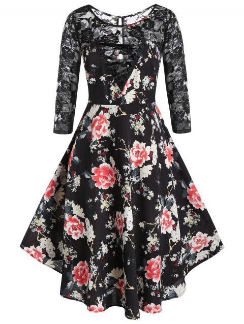 Plus Size Fit And Flare Ditsy Print Lace Insert Dresss - BLACK 5X