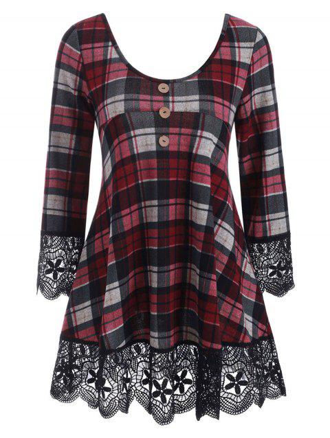 Plaid Guipure Lace Insert Button Embellished Knitwear - RED WINE 3XL