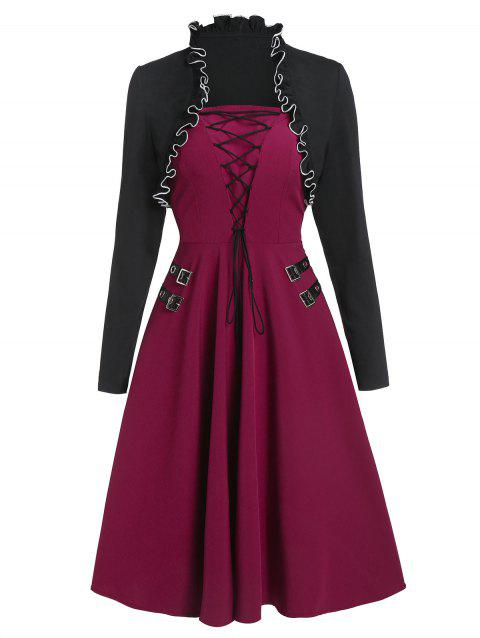 Lace Up Buckle Cami Dress with Lettuce Trim Shrug Top - RED WINE L