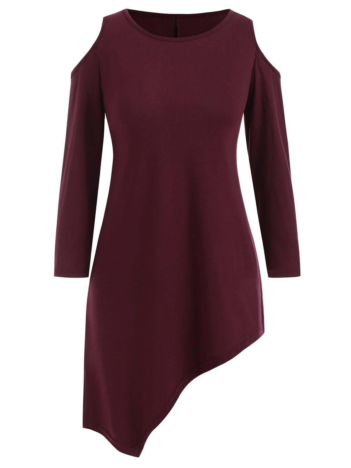 Cold Shoulder Asymmetric Solid Tee - RED WINE L