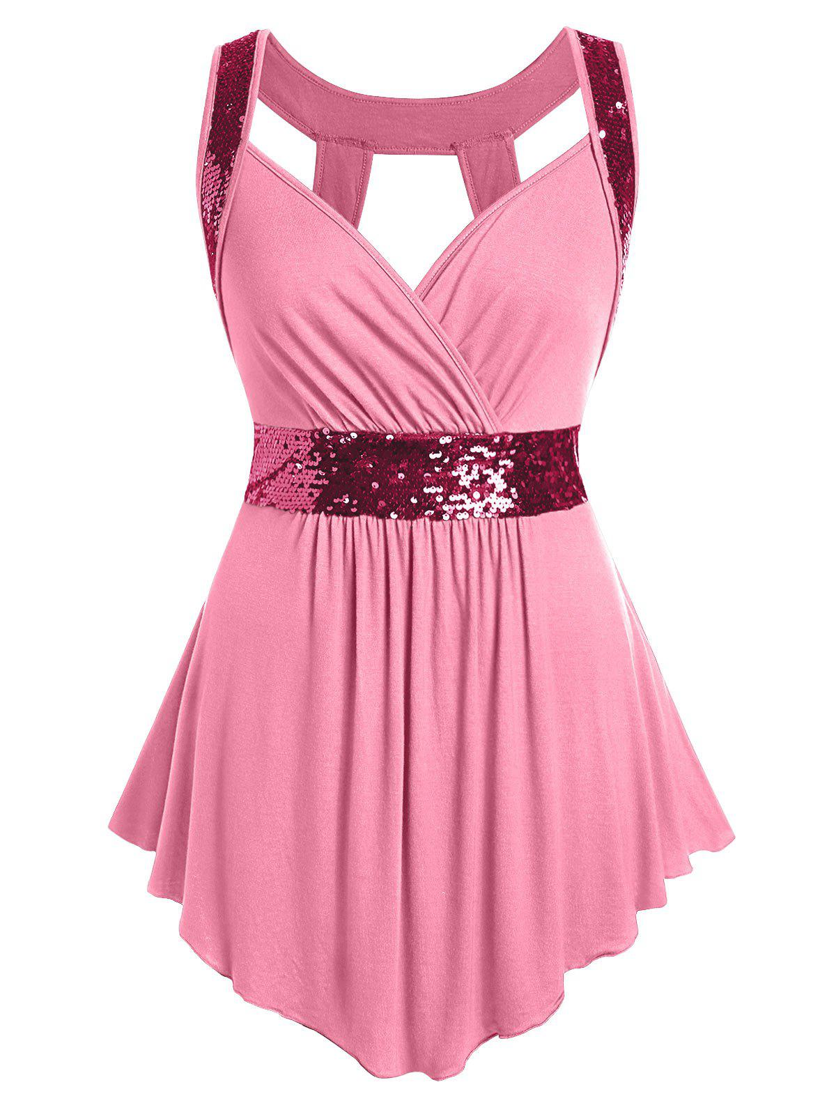 Plus Size Sequined Surplice Cut Out Tank Top - BLUSH RED 1X