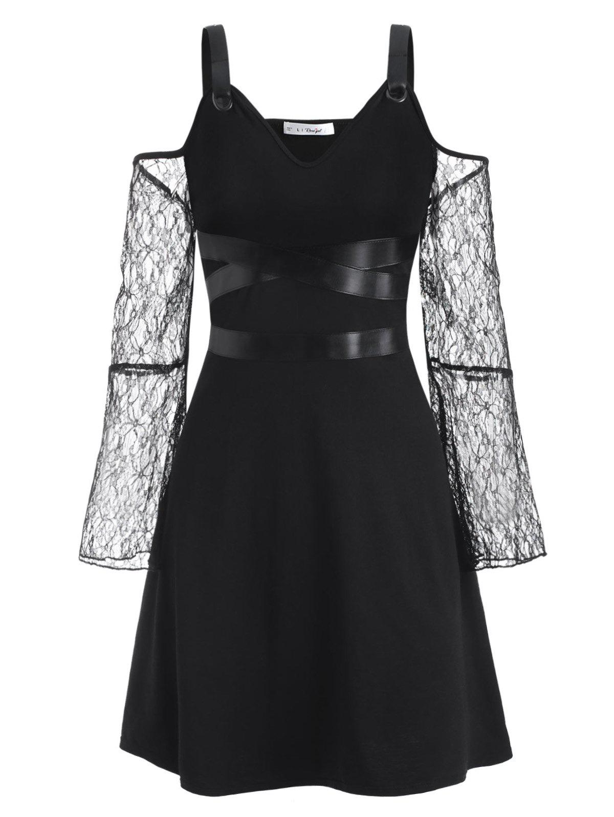 Buckled PU Leather Panel Lace Sleeve Plus Size Gothic Dress - BLACK L