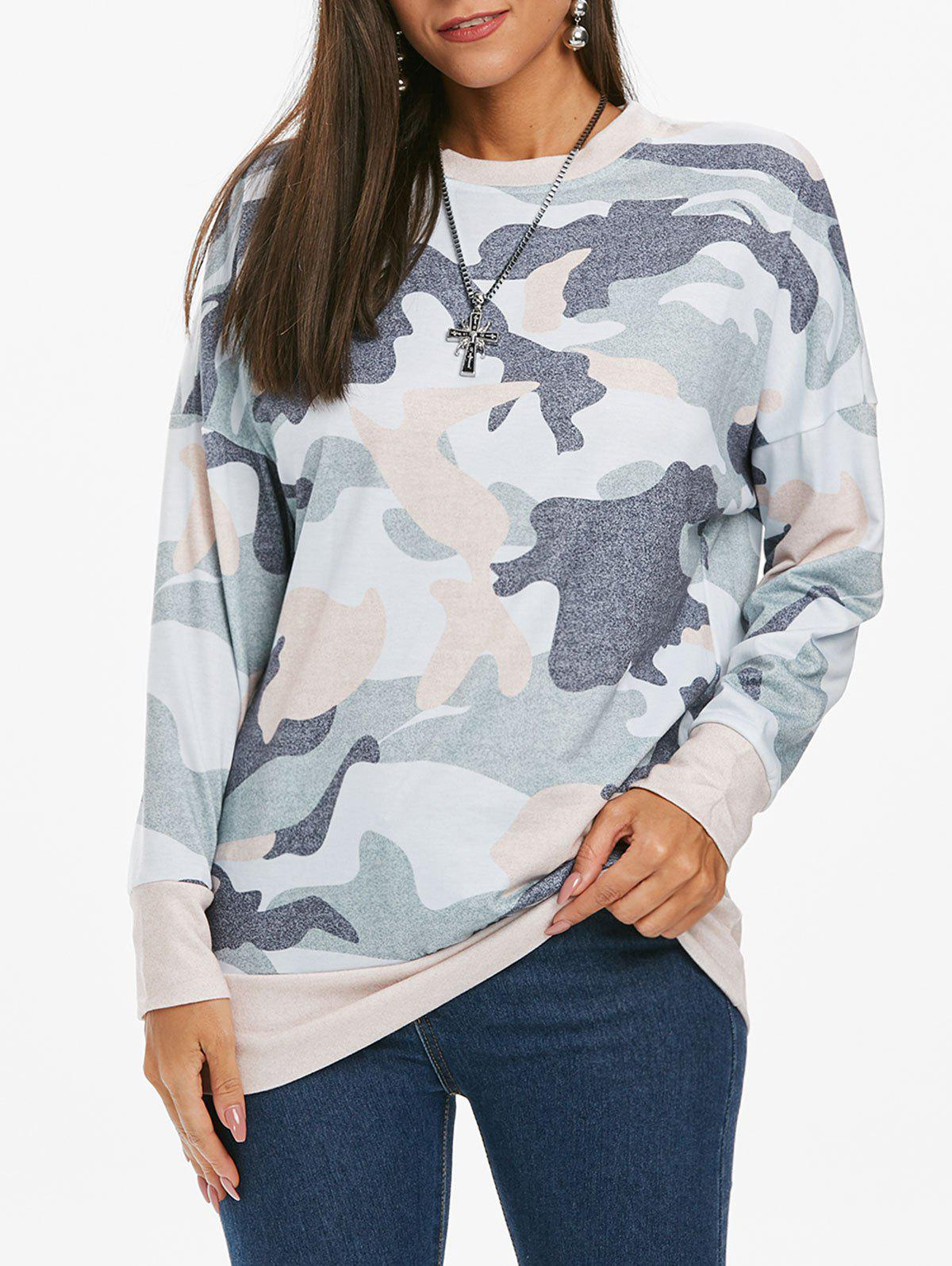 Sweat long camouflage à épaules tombantes - multicolor B L