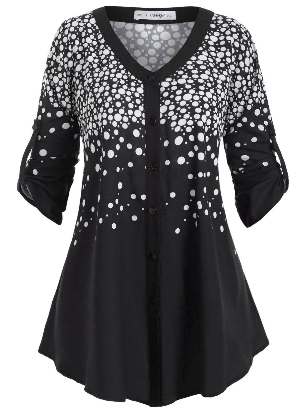 Button Up Buttoned Tabs Polka Dot Plus Size Top - BLACK L