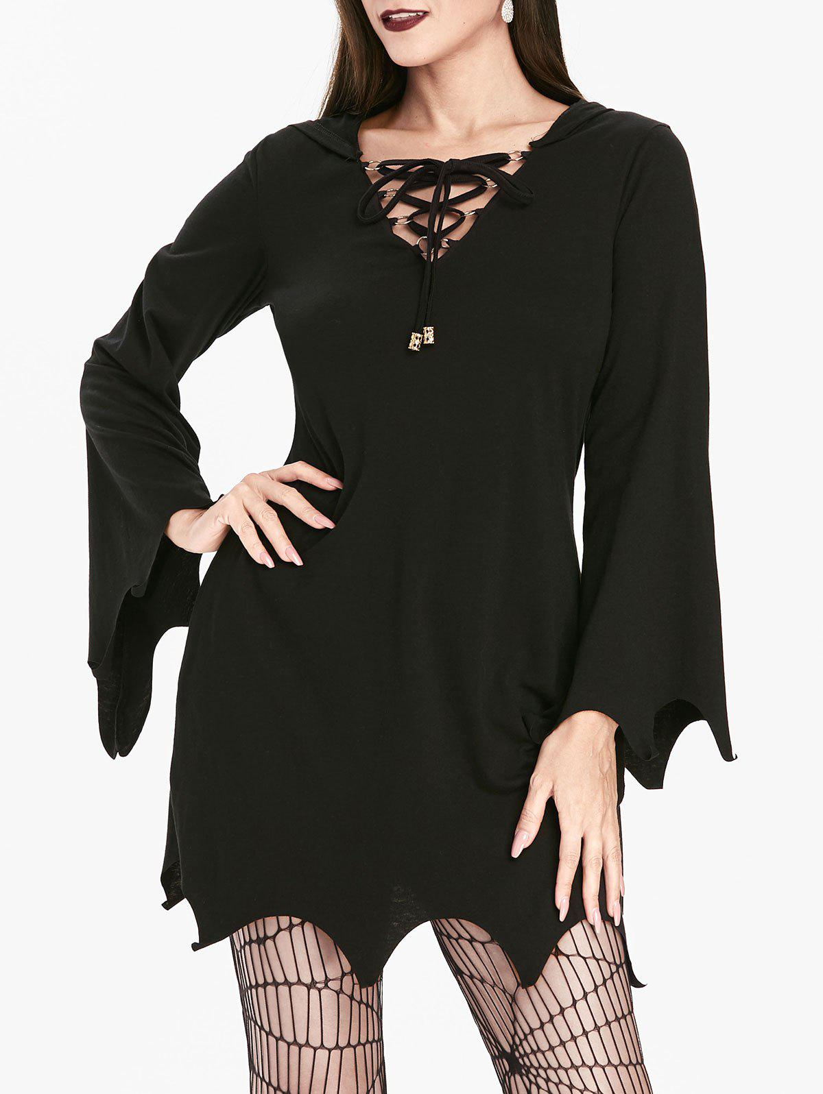 Gothic Hooded Lace Up Sharkbite Trim Dress - NIGHT 2XL