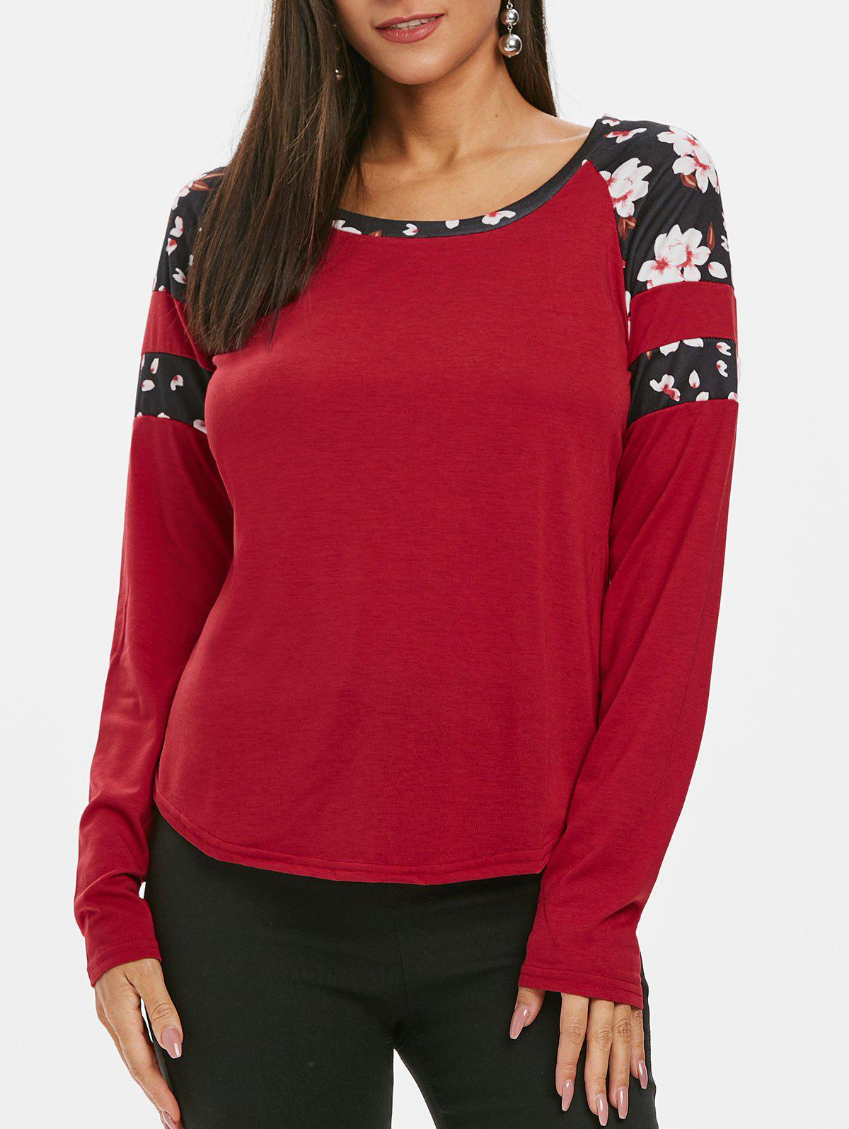 Flower Print Patch Raglan Sleeve Curved T Shirt - RED WINE S