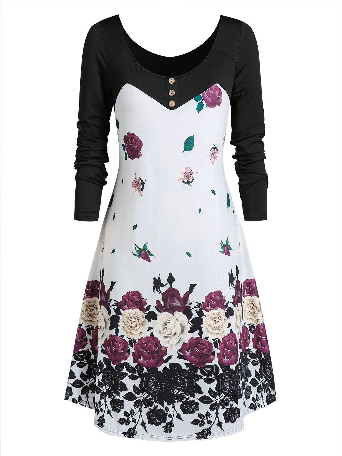 Plus Size Floral Print Mini Swing Dress - WHITE 2X