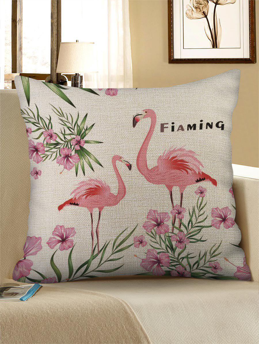 Flamingo and Flowers Print Decorative Pillowcase - ROSE W18 X L18 INCH