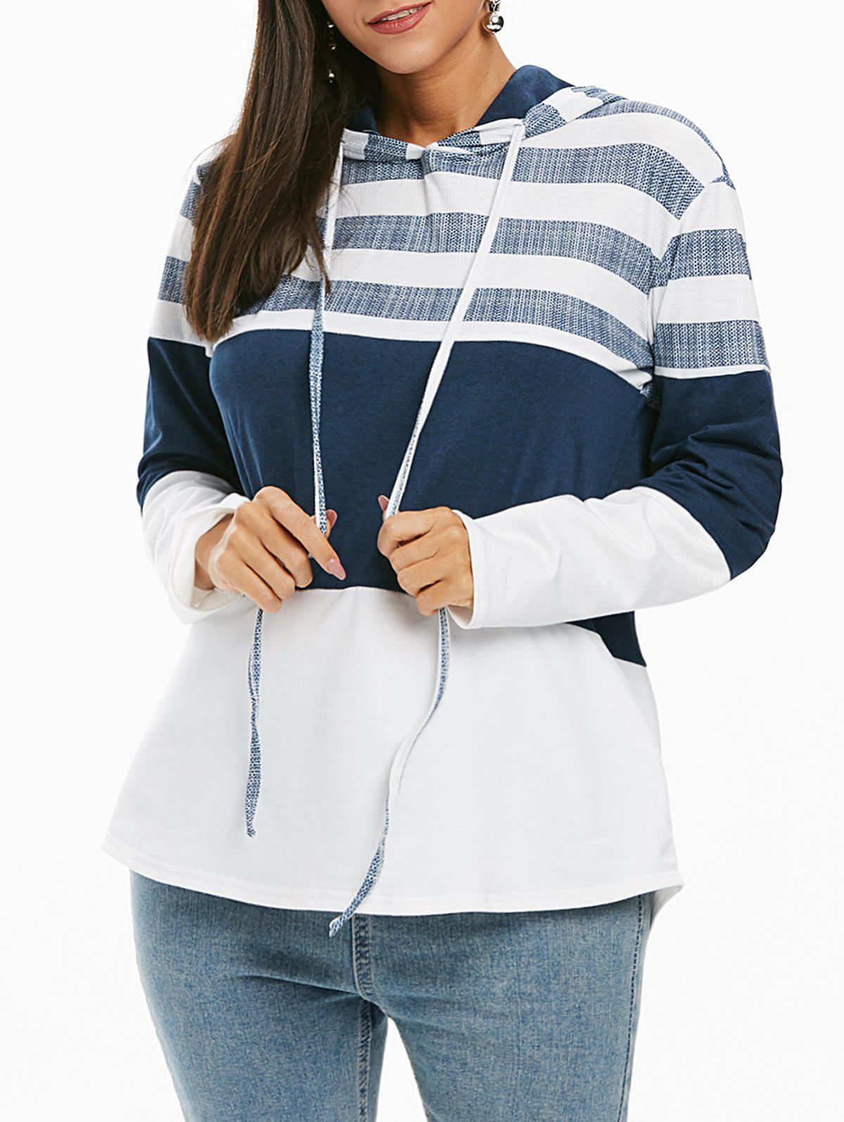 Striped Color Block Drawstring Longline Hoodie - WHITE S