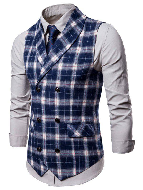 Plaid Print Double Breasted Casual Waistcoat - NAVY BLUE M