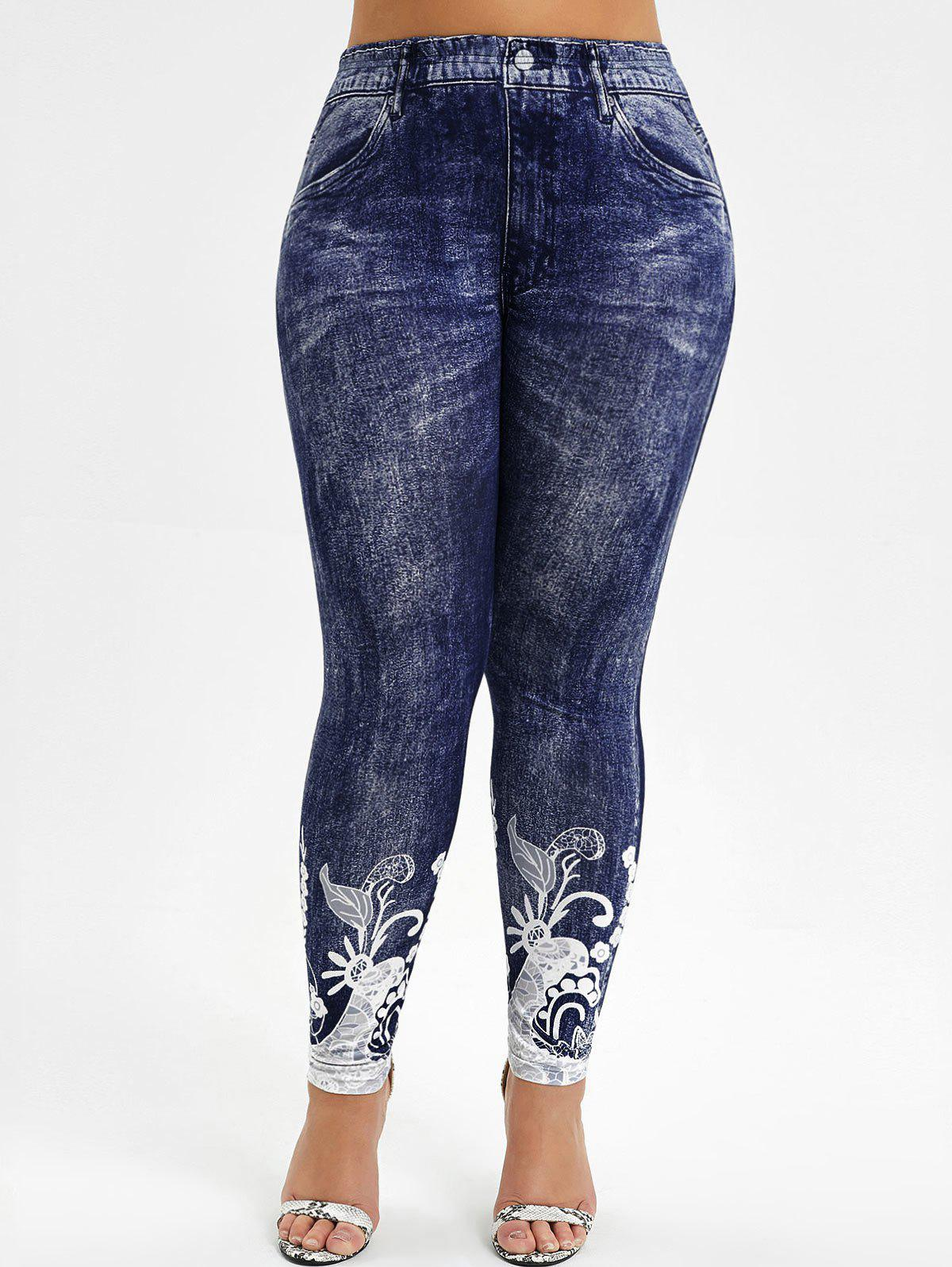 3D Printed High Waisted Plus Size Jeggings - DEEP BLUE L