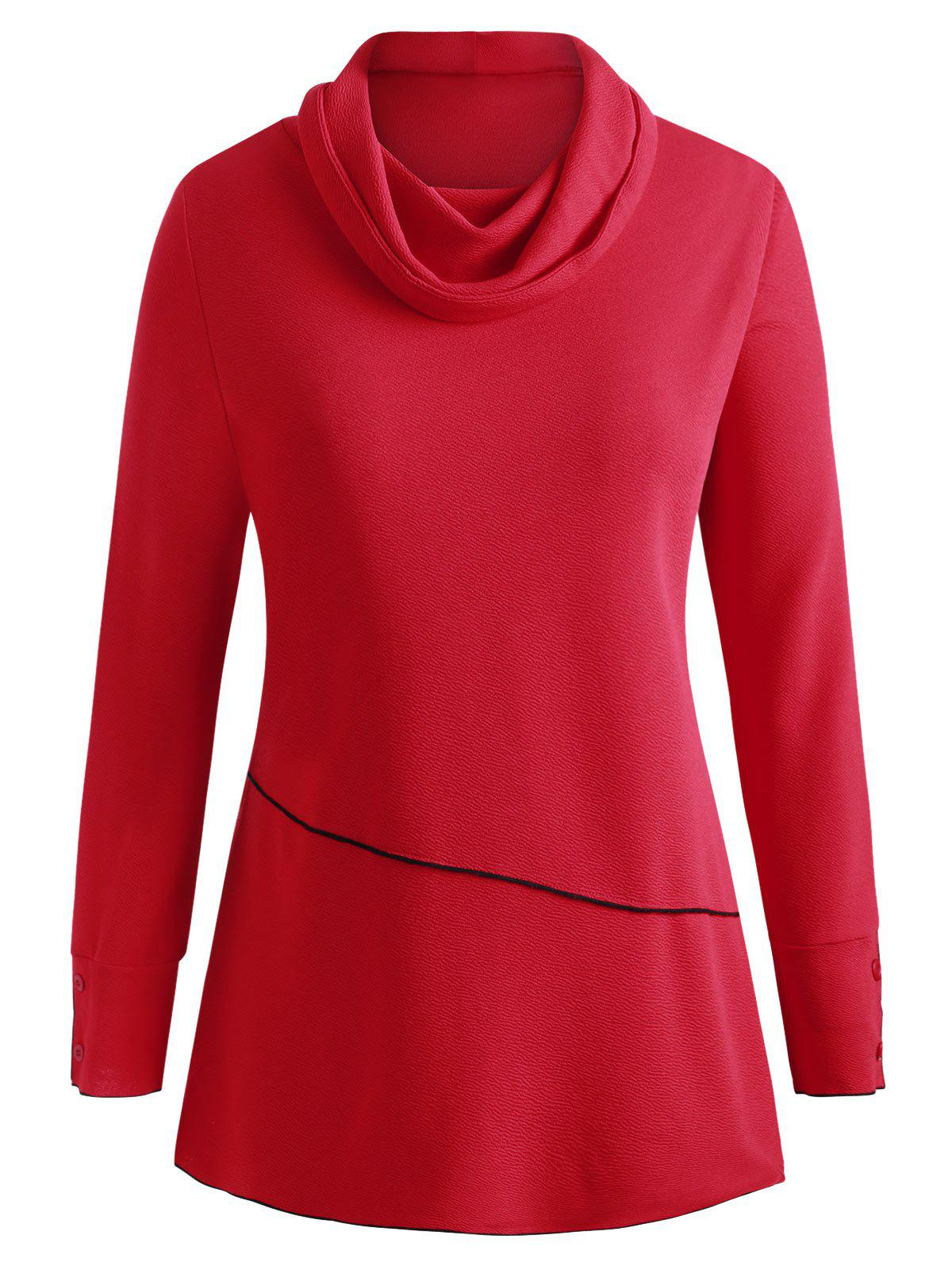 Cowl Necl Piping texturé Taille Plus Sweat - Rouge 2X
