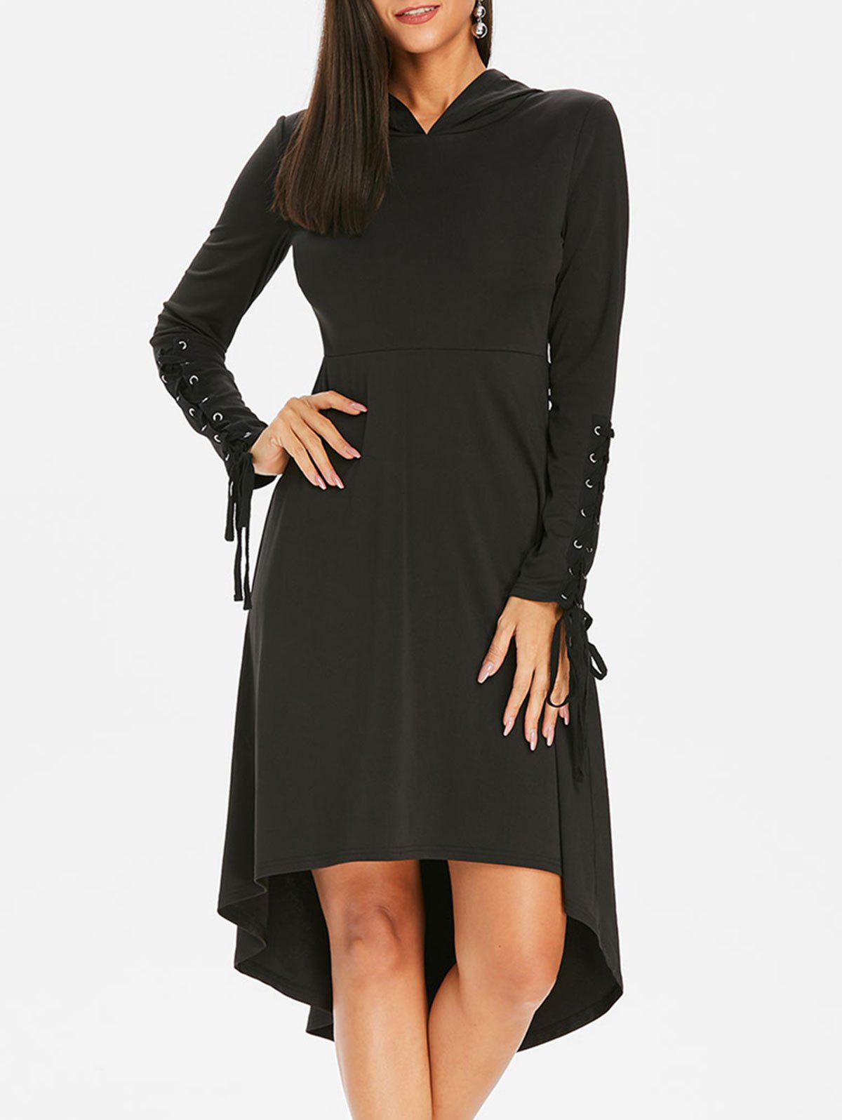 Halloween Hooded Lace Up Gothic Dress - BLACK XL