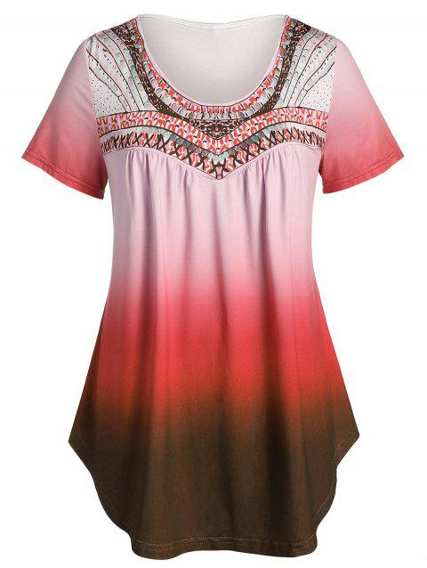 Plus Size Ombre Round Collar Tunic T Shirt - BURNT PINK 5X