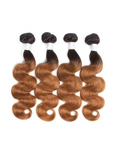 Human Remy Body Wave Ombre Hair Weft - multicolor C 24INCH
