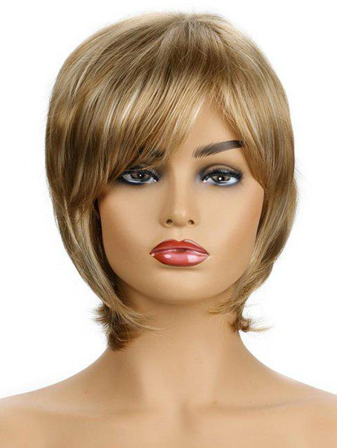 Side Bang Straight Synthetic Short Hair Wig - CHAMPAGNE GOLD
