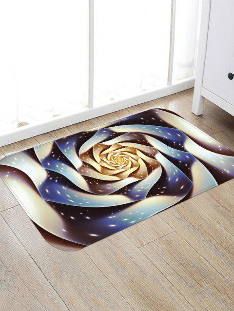 3D Rose Flower Pattern Printed Floor Mat - DARK SLATE BLUE W20 X L31.5 INCH
