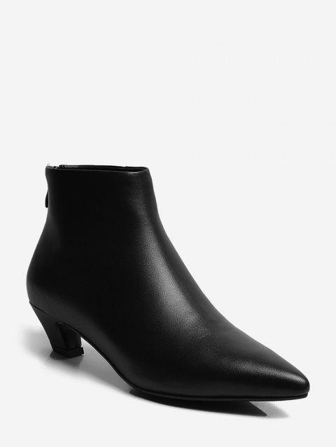 Solid PU Slim Pointed Toe Boots - BLACK EU 38