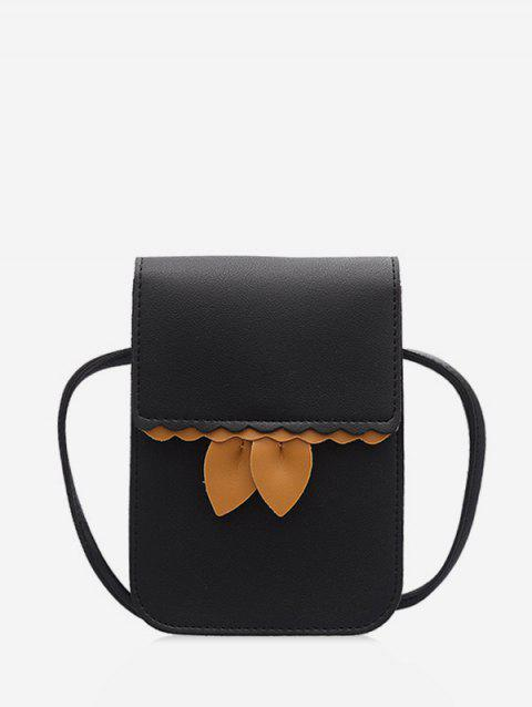 Small Crossbody Coin PU Leather Bag - BLACK