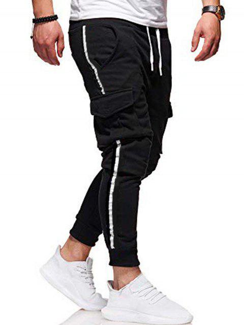 Pocket Design Casual Knitted Jogger Pants - BLACK L