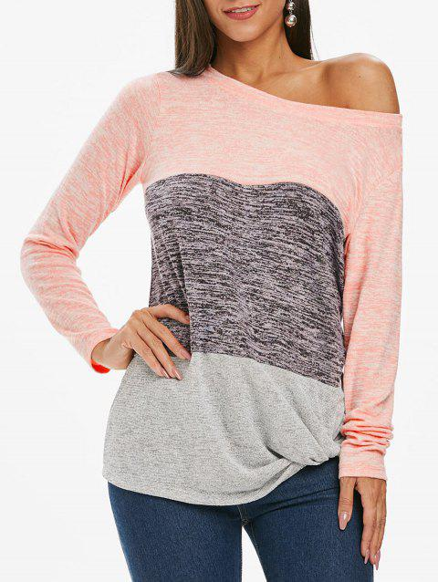 Color Block Twist Knit Top - PINK L