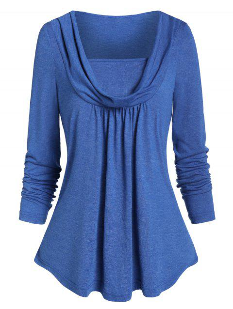 Marled Pleated Cowl Neck T Shirt - CORNFLOWER BLUE 2XL
