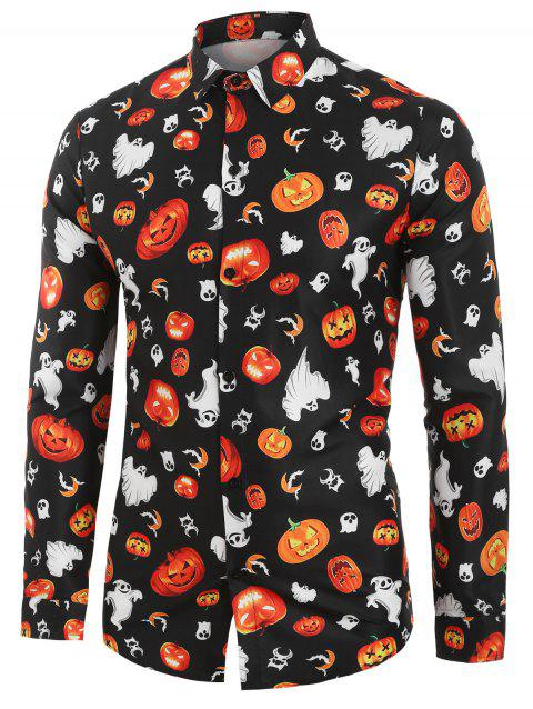 Halloween Pumpkin Print Long-sleeved Shirt - BLACK M