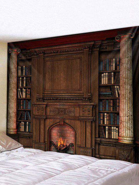 Vintage Fireplace Bookcase Print Tapestry Wall Hanging Art Decoration - multicolor W91 X L71 INCH