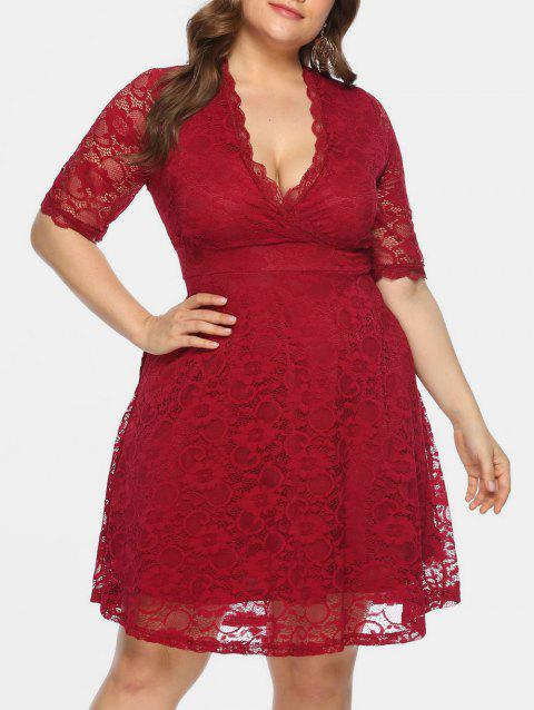 Plus Size Plunging Neckline Lace Flare Dress - RED 1X