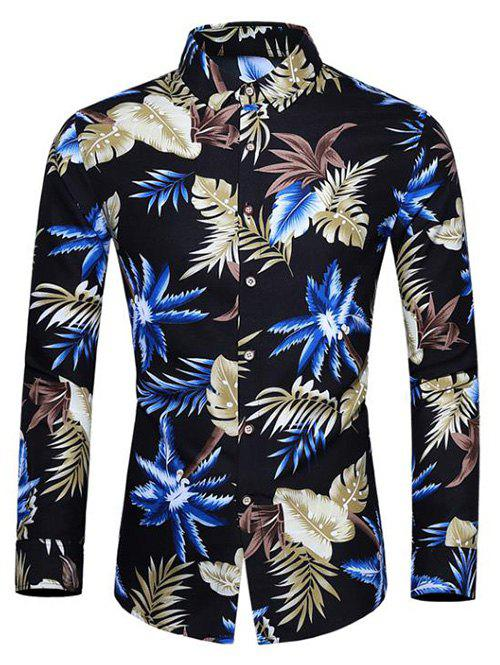 Coconut Tree Leaf Print Long-sleeved Shirt - BLACK L