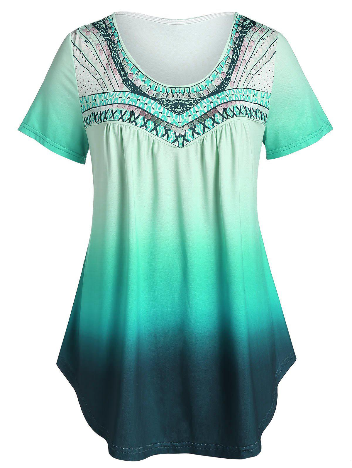 Plus Size Ombre Round Collar Tunic T Shirt - LIGHT SEA GREEN 5X