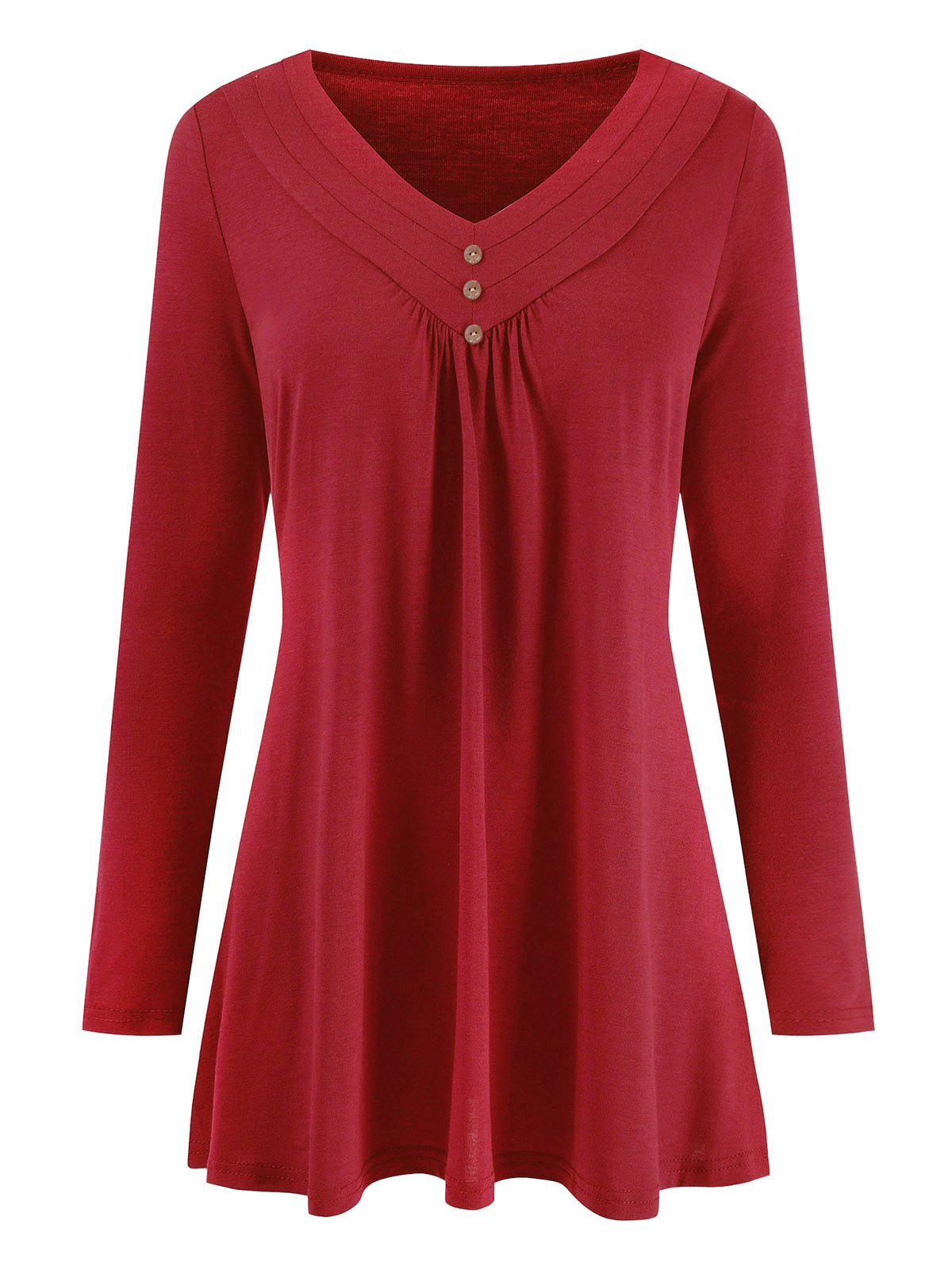 V Neck Plus Size Long Sleeve Top - RED L