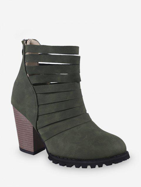 Caged Stacked Chunky Heel Short Boots - ARMY GREEN EU 36