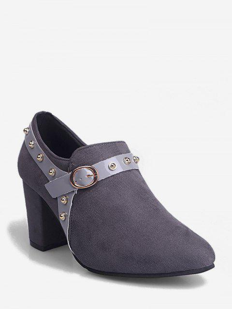 Contrast Stud Strap Chunky Heel Ankle Boots - GRAY EU 35