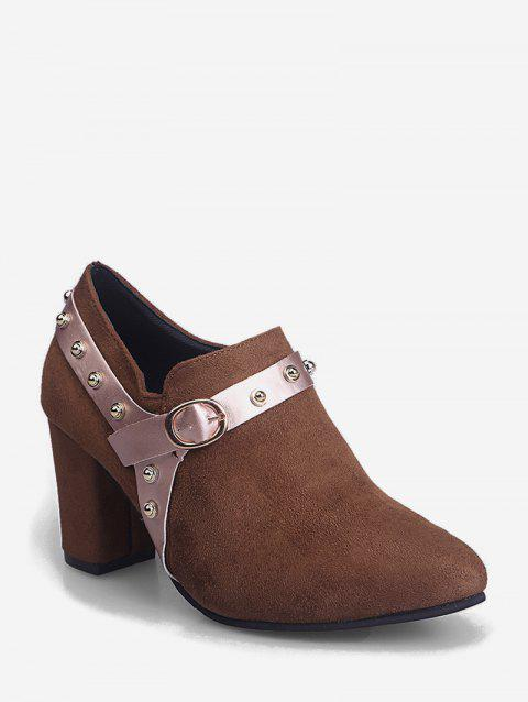 Contrast Stud Strap Chunky Heel Ankle Boots - BROWN EU 35