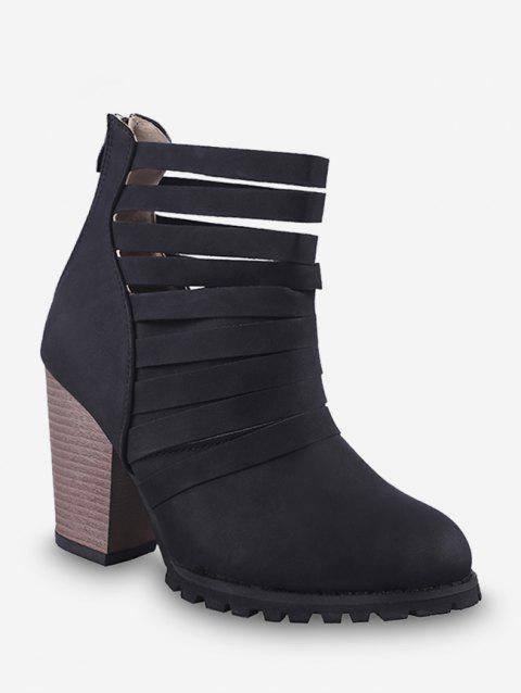 Caged Stacked Chunky Heel Short Boots - BLACK EU 36