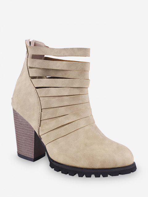 Caged Stacked Chunky Heel Short Boots - BEIGE EU 35