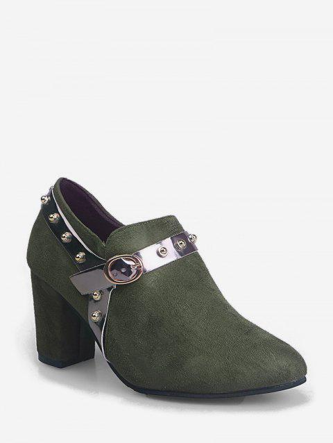Contrast Stud Strap Chunky Heel Ankle Boots - ARMY GREEN EU 35