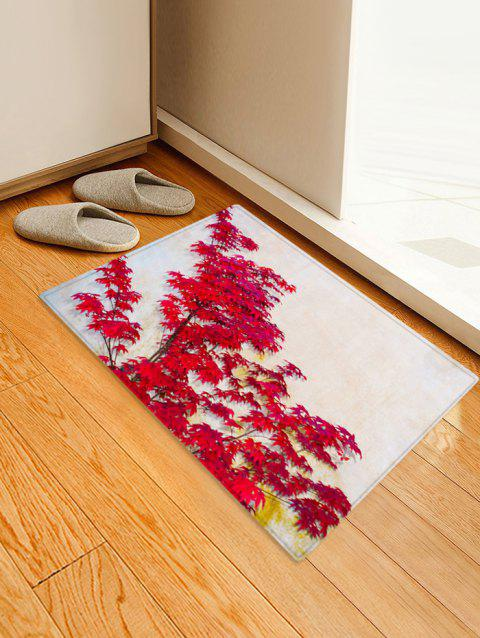 3D Maple Leaf Print Non-Slip Area Rug - RED W24 X L35.5 INCH