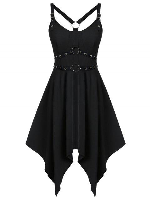 Plus Size Solid Asymmetrical Gothic Rings Dress - BLACK 2X