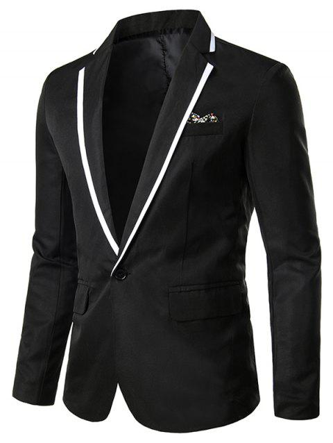 Color Spliced Pocket Decoration Blazer - BLACK L