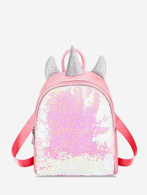 Paillette Design Small Horn Decorate Backpack - HOT PINK