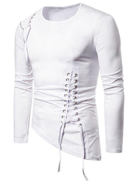 Solid Color Lace-up Long Sleeves T-shirt - WHITE M