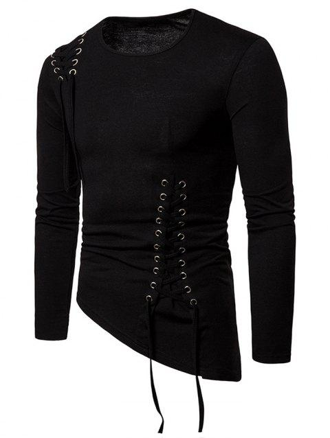 Solid Color Lace-up Long Sleeves T-shirt - BLACK L