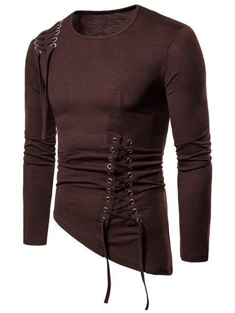 Solid Color Lace-up Long Sleeves T-shirt - COFFEE L
